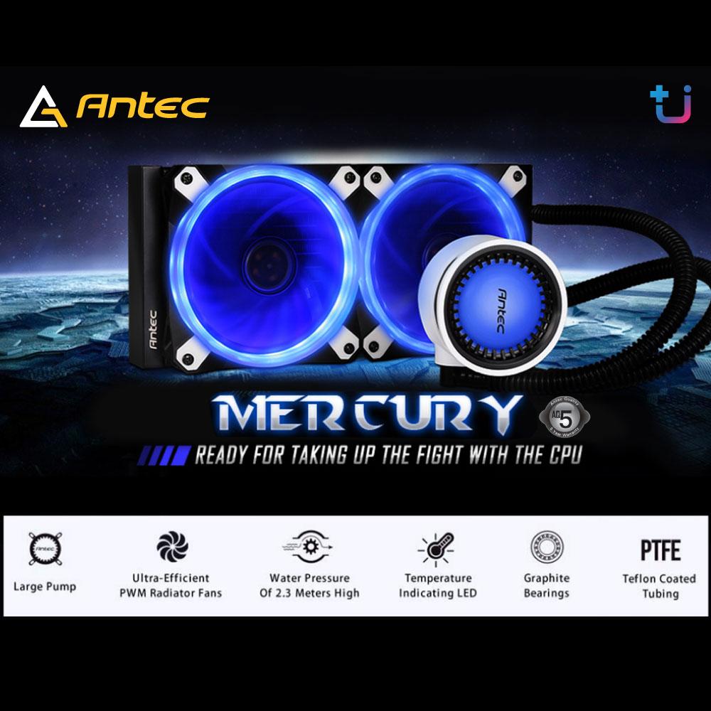 ชุดน้ำระบบปิด เย็น ปั้มใหญ่ แรงดันดี มีไฟ LED เปลี่ยนตามอุณหภูมิ Antec Mercury